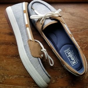 7.5 blue white striped keds new without box